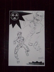 We picked up this awesome sketch of Jughead slugging Galactus at the Comic Vine party, but we don't know who drew it!! Who are you, you mad genius?